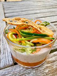 rillette de crabes et légumes au restaurant l'Océan sur l'ile de Ré